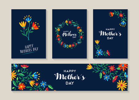 Illustration pour Happy mothers day, set of spring flowers illustration templates ready to use as gift label or special event card. EPS10 vector. - image libre de droit