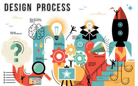 Illustration pour Innovation design process infographic style guide showing the steps to launch your work or business project. Modern flat line art illustrations ideal for web or template. EPS10 vector. - image libre de droit