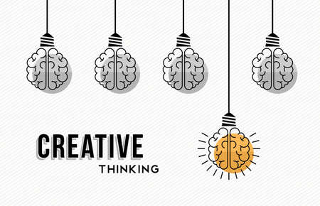 Ilustración de Modern creative thinking concept design, human brains in black and white with colorful one getting an idea. - Imagen libre de derechos