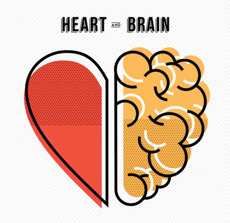 Ilustración de Heart and brain work as team concept design, flat line art modern illustration. - Imagen libre de derechos