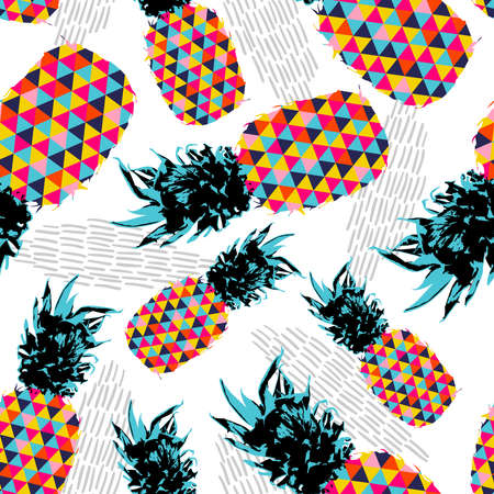 Ilustración de Summer seamless pattern design, pineapple fruit with happy vibrant colors and retro hipster geometric art elements. vector. - Imagen libre de derechos