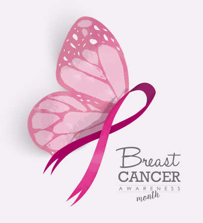 Illustration pour Breast cancer awareness month with pink butterfly wings on ribbon for support campaign. EPS10 vector. - image libre de droit
