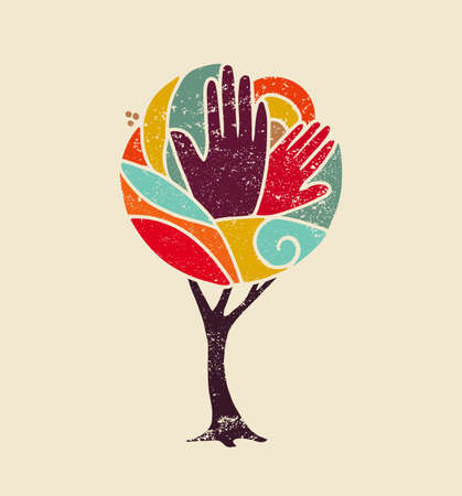 Illustrazione per Colorful grunge concept tree art with people hands and nature design for social diversity, environment help. vector. - Immagini Royalty Free