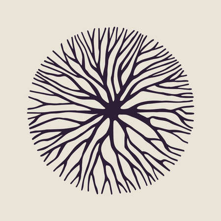 Ilustración de Abstract circle shape illustration of tree branches or roots for concept design, creative nature art. vector. - Imagen libre de derechos