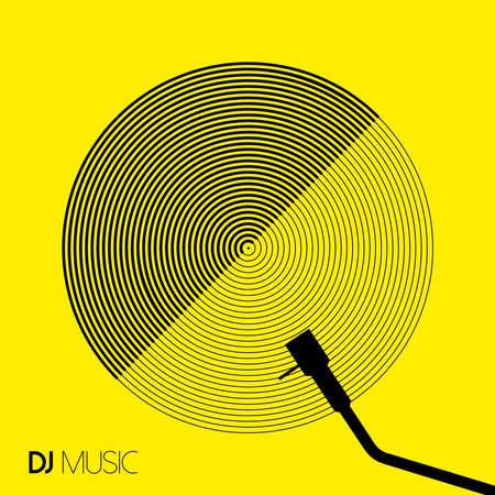 Ilustración de DJ music concept in geometric line art style with modern vinyl record design. EPS10 vector. - Imagen libre de derechos