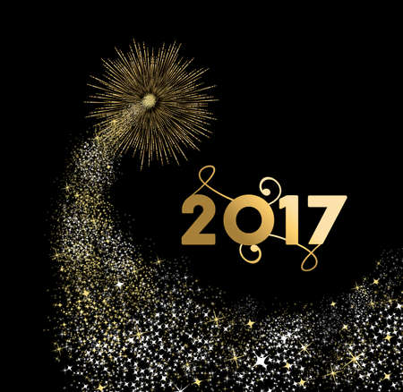 Happy New Year 2017 gold design with firework explosion illustration. Ideal for holiday greeting card or poster. vector.