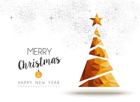 Illustration for Merry christmas and happy new year gold xmas pine tree in low poly triangle style, holiday decoration card design. - Royalty Free Image
