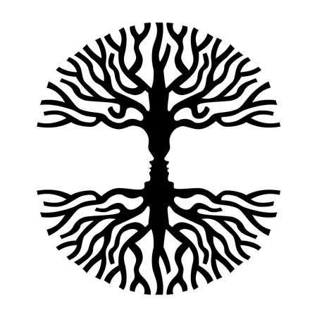 Illustration pour Tree branches shape with opposite human faces silhouette. Concept optic art symbol for psychology, environment, therapy, social development or human sciences. EPS10 vector. - image libre de droit