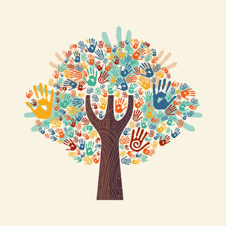 Illustration pour Isolated tree made of colorful hand print art. Diverse community concept for social help, teamwork or charity. EPS10 vector. - image libre de droit