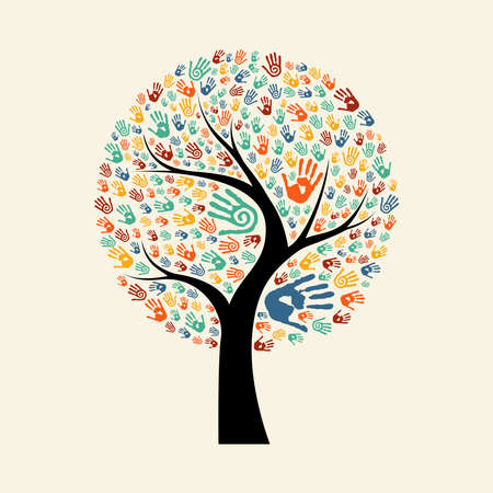 Ilustración de Tree hands of colorful diverse community. Isolated concept illustration for social help concept, charity or group work. EPS10 vector. - Imagen libre de derechos