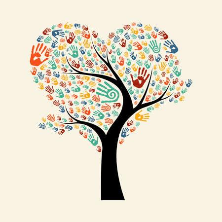 Illustration pour Tree made of diverse color hand prints in heart shape. Community help concept illustration. EPS10 vector. - image libre de droit