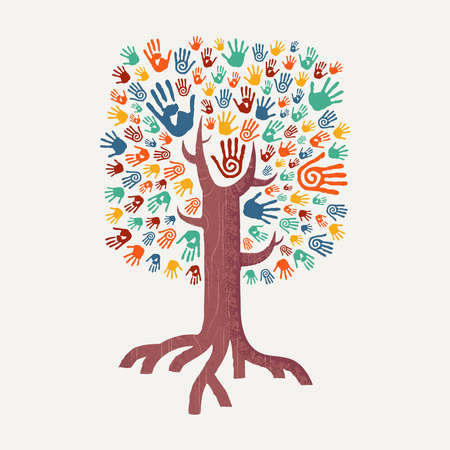 Illustration pour Hand tree drawing with colorful handprint art. Diverse united community concept illustration for social help, environment project or charity. EPS10 vector. - image libre de droit