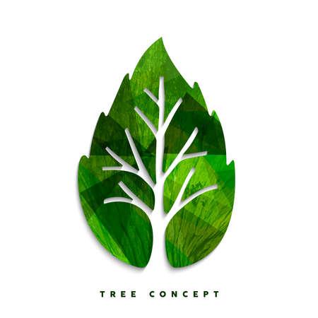 Ilustración de Green tree leaf texture concept design for environment care or nature help project. EPS10 vector. - Imagen libre de derechos