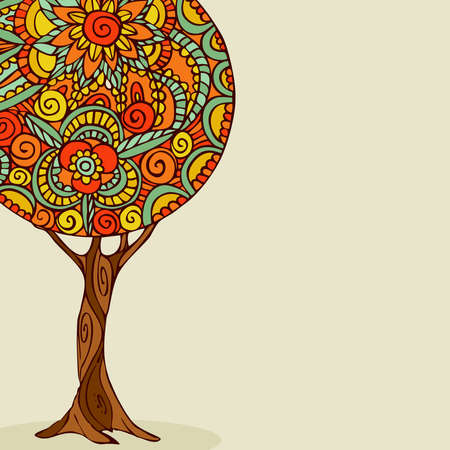 Illustration for Tree illustration with traditional mandala design, hand drawn floral decoration in ethnic boho style. EPS10 vector. - Royalty Free Image