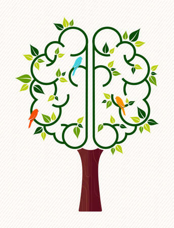 Ilustración de Think green concept illustration, tree with human brain and birds for environment care or nature help project. - Imagen libre de derechos