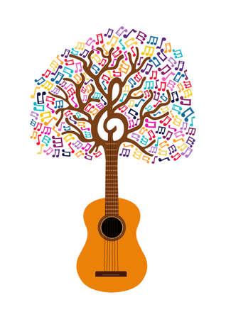 Ilustración de Guitar tree with musical note decoration. Concept illustration for nature help or live music. EPS10 vector. - Imagen libre de derechos