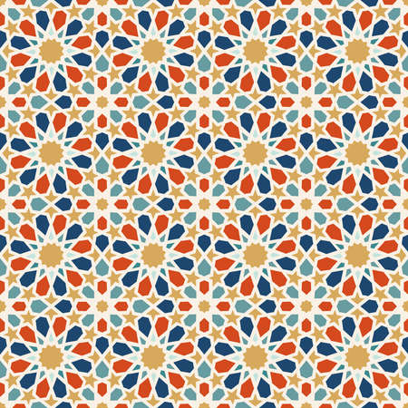 Illustration for Traditional muslim ceramic mosaic tile seamless pattern with entwined abstract geometric shape decoration. EPS10 vector. - Royalty Free Image