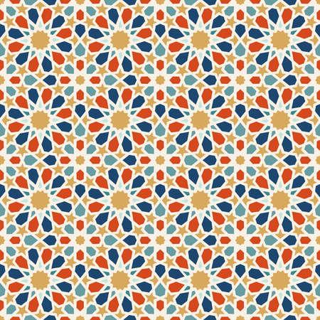Ilustración de Traditional muslim ceramic mosaic tile seamless pattern with entwined abstract geometric shape decoration. EPS10 vector. - Imagen libre de derechos