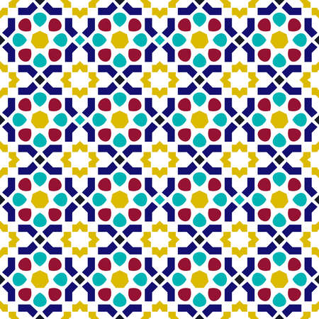 Illustration for Classic arab ceramic mosaic tile seamless pattern with abstract geometric shape decoration based on traditional oriental Moorish patterns.  EPS10 vector. - Royalty Free Image