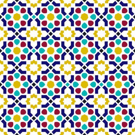 Ilustración de Classic arab ceramic mosaic tile seamless pattern with abstract geometric shape decoration based on traditional oriental Moorish patterns.  EPS10 vector. - Imagen libre de derechos