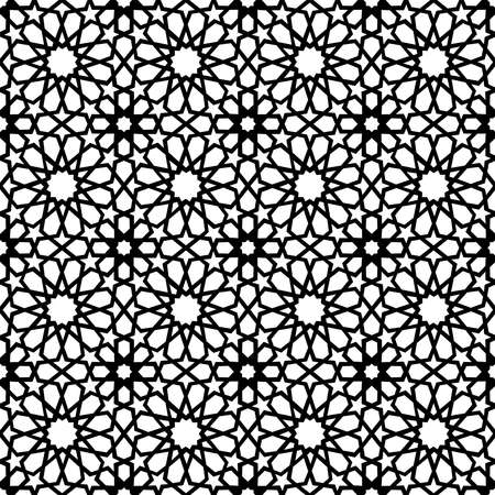 Illustration for Classic Arab ceramic mosaic tile seamless pattern with abstract black and white muslim geometric shape decoration. EPS10 vector. - Royalty Free Image