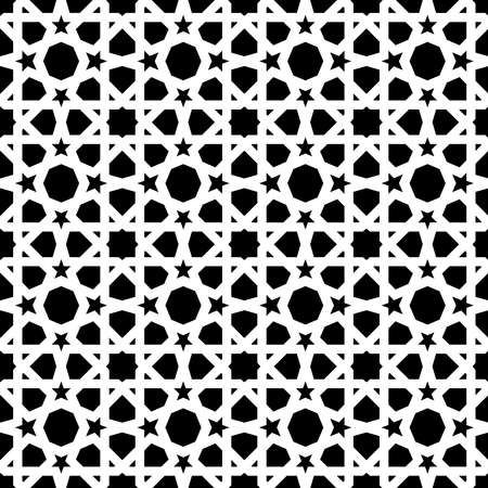 Illustration pour Vintage ceramic mosaic tile seamless pattern with abstract black and white geometric shape decoration. Entwined tiled pattern based on traditional oriental Moorish patterns.EPS10 vector. - image libre de droit