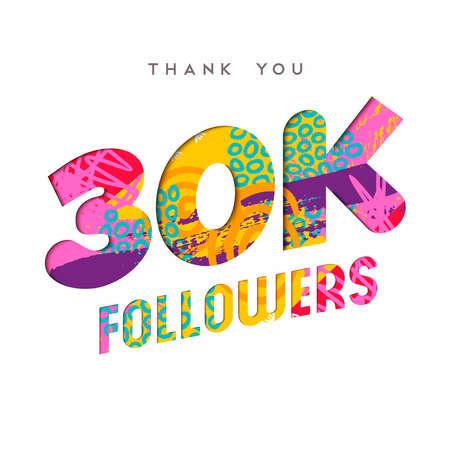 Ilustración de 30000 followers thank you paper cut number illustration. Special 30k user goal celebration for thirty thousand social media friends, fans or subscribers. EPS10 vector. - Imagen libre de derechos