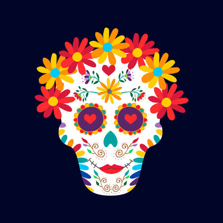 Illustration for Day of the dead sugar skull woman illustration for mexican celebration, traditional mexico skeleton decoration with flowers and colorful art. EPS10 vector. - Royalty Free Image