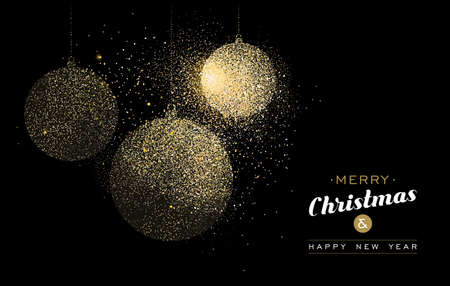 Ilustración de Merry Christmas and Happy New Year gold greeting card illustration. Holiday decoration ornaments made of golden glitter dust. EPS10 vector. - Imagen libre de derechos