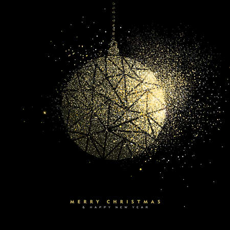 Ilustración de Merry Christmas and Happy New Year luxury greeting card design, gold bauble decoration made of golden glitter dust on black background. EPS10 vector. - Imagen libre de derechos