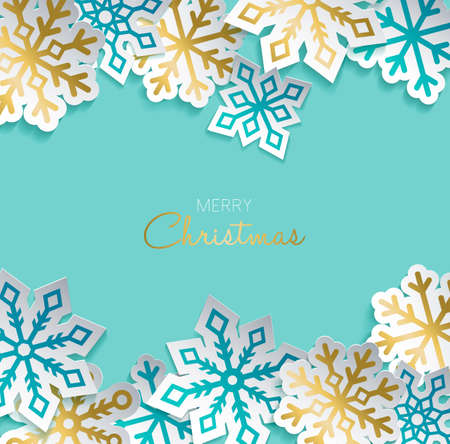 Illustration for Merry Christmas greeting card with gold paper cut snowflake decoration for winter holiday season. Modern 3d ornament sticker design. EPS10 vector. - Royalty Free Image
