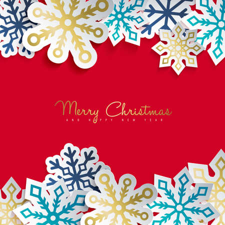 Illustration for Merry Christmas and Happy New Year greeting card with paper cut snowflake decoration for winter holiday season. Modern 3d ornament sticker design. EPS10 vector. - Royalty Free Image