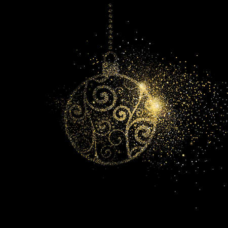 Illustrazione per Merry Christmas gold glitter art illustration, golden holiday bauble decoration on black background. EPS10 vector. - Immagini Royalty Free