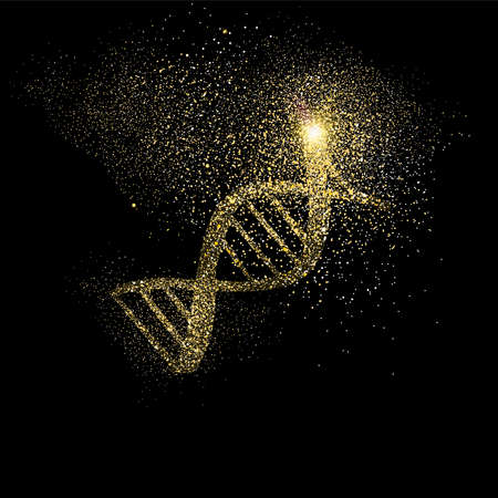 Ilustración de DNA strand symbol concept illustration, gold medical science icon made of realistic golden glitter dust on black background. EPS10 vector. - Imagen libre de derechos