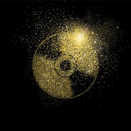 Illustrazione per Vinyl cd symbol concept illustration, gold music icon made of realistic golden glitter dust on black background. EPS10 vector. - Immagini Royalty Free