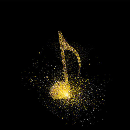Illustration pour Music note symbol concept illustration, gold musical icon made of realistic golden glitter dust on black background. EPS10 vector. - image libre de droit