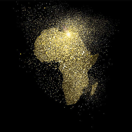 Illustrazione per African continent concept illustration, gold africa icon made of realistic golden glitter dust on black background. EPS10 vector. - Immagini Royalty Free