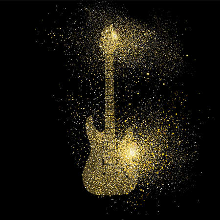 Illustrazione per Electric guitar symbol concept illustration, gold music instrument icon made of realistic golden glitter dust on black background. EPS10 vector. - Immagini Royalty Free
