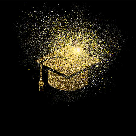 Illustrazione per Graduation cap symbol concept illustration, gold college student icon made of realistic golden glitter dust on black background. EPS10 vector. - Immagini Royalty Free