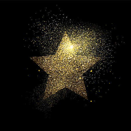 Illustration for Star symbol concept illustration, gold icon made of realistic golden glitter dust on black background. EPS10 vector. - Royalty Free Image