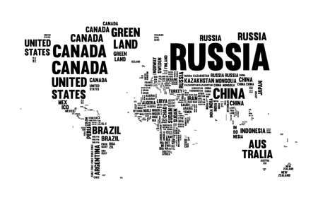 Illustration pour Typography world map made of every country name in black and white. Concept text atlas design with continent shapes. EPS10 vector. - image libre de droit