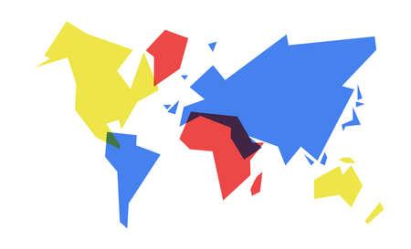Illustration pour Abstract world map simple concept illustration, colorful geometric continent shape design. EPS10 vector. - image libre de droit
