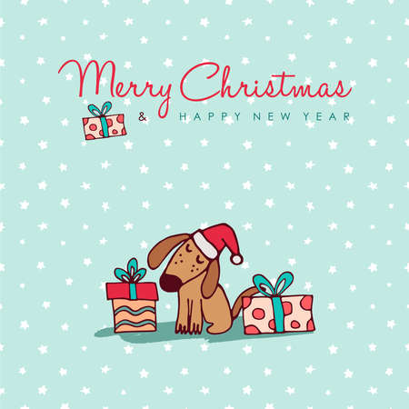 Ilustración de Merry Christmas Happy New Year hand drawn dog greeting card illustration, Funny puppy in santa hat with gift boxes and handwritten holiday typography quote. - Imagen libre de derechos