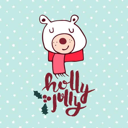 Ilustración de Merry Christmas hand drawn polar bear greeting card illustration. Cute winter animal cartoon with handwritten holiday typography quote. EPS10 vector. - Imagen libre de derechos