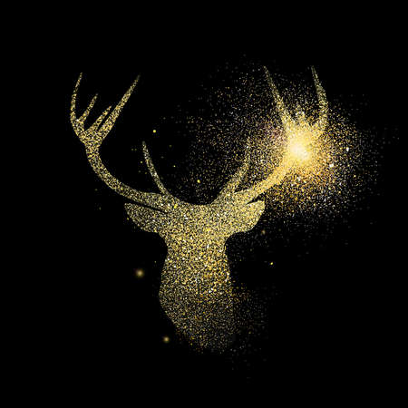 Illustrazione per Reindeer head symbol concept illustration, gold deer icon made of realistic golden glitter dust on black background. EPS10 vector. - Immagini Royalty Free