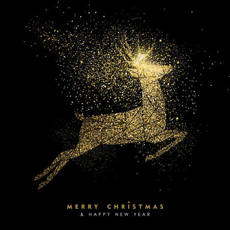 Illustrazione per Merry Christmas and Happy New Year luxury greeting card design, gold reindeer silhouette made of golden glitter dust on black background. EPS10 vector. - Immagini Royalty Free