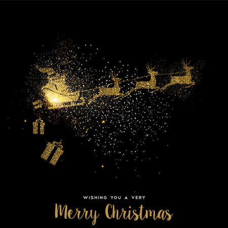 Illustrazione per Merry Christmas gold luxury greeting card design. Santa Claus in sledge with deer made of golden glitter dust on black background. EPS10 vector. - Immagini Royalty Free