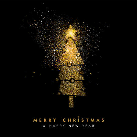 Illustrazione per Merry Christmas and Happy New Year luxury greeting card design, gold xmas pine tree made of golden glitter dust on black background. EPS10 vector. - Immagini Royalty Free