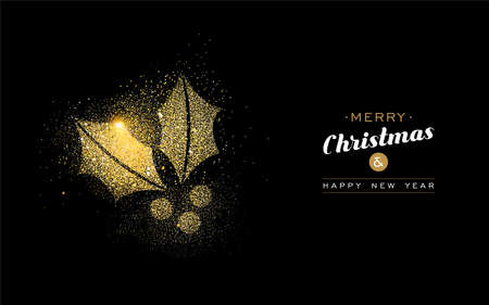 Illustrazione per Merry Christmas and Happy New Year luxury greeting card design, gold holly leaf made of golden glitter dust on black background. EPS10 vector. - Immagini Royalty Free