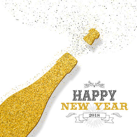 Illustration for Happy new year 2018 luxury gold champagne bottle made of golden glitter dust. Ideal for greeting card or elegant holiday party invitation. EPS10 vector. - Royalty Free Image